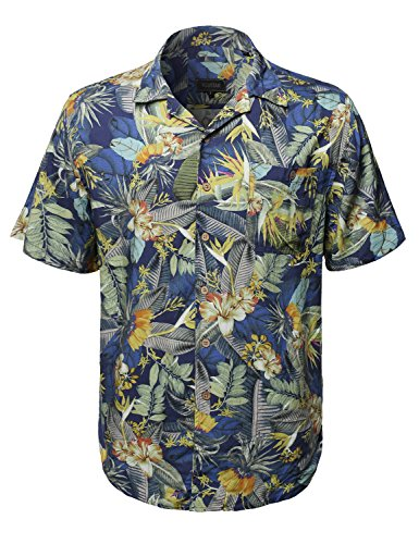 (Youstar Hawaiian Print Button Down Short Sleeves Chest Pocket Shirt Blue Yellow M)