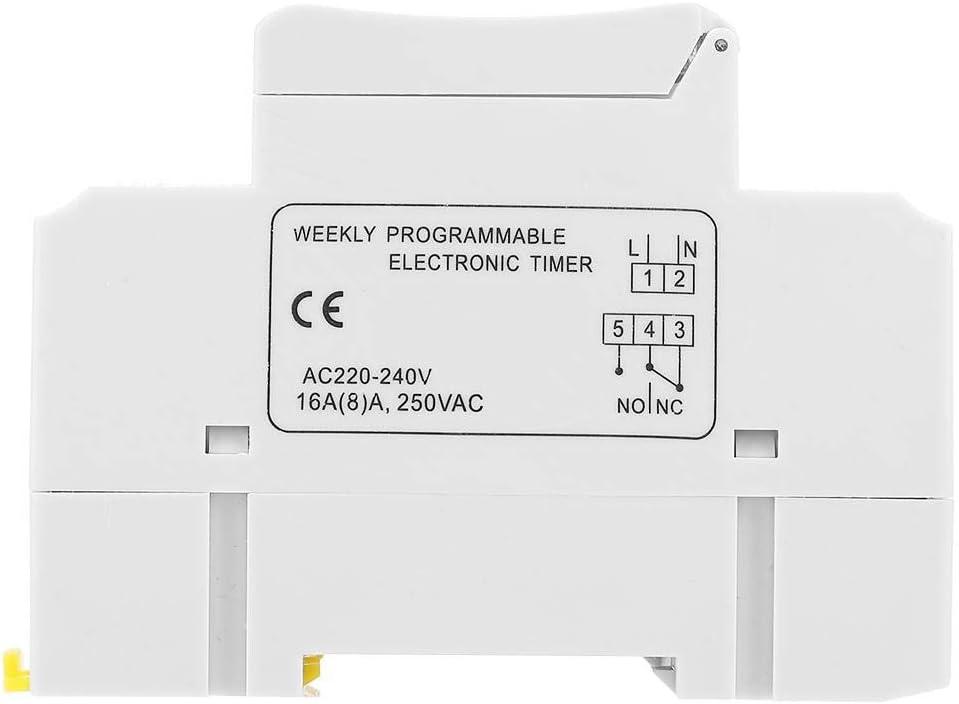 THC15A Minuterie 220-240VAC 16A Relais temporis/é programmable num/érique sur rail DIN 50Hz