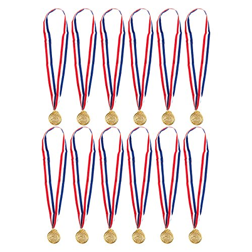 (Juvale Gold Medals for Swimming - 12-Pack Swimmer Winner Award Medals, 2 Inches in Diameter with 30-Inch Ribbon )