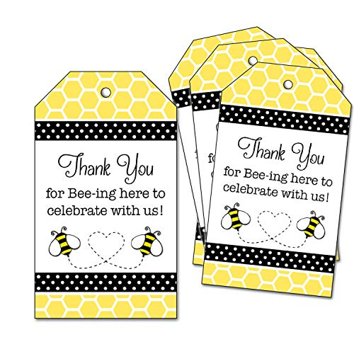 - 25 Bumble Bee Thank You Favor Tags - for Wedding, Bridal Shower, Baby Shower, 1st Birthday Party - Honeycomb - Thank you for Bee-ing Here