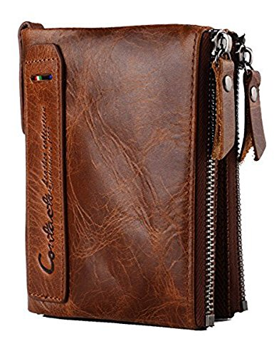 Lareinea Men Genuine Leather Cowhide Zip Wallet Vintage Bifold with Double Zipper Pockets (Brown)