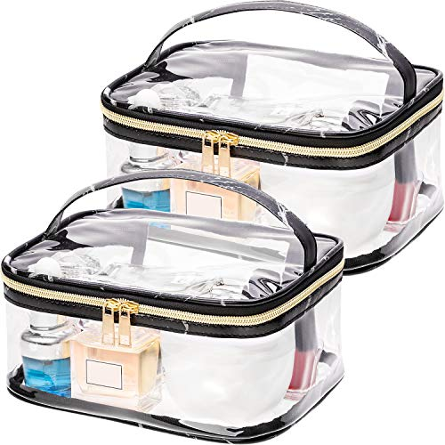 Boao 2 Pieces Portable Marble Pattern Clear Makeup Bag Gold Zipper Waterproof Transparent Travel Storage Pouch Cosmetic Toiletry Bag with Handle Black