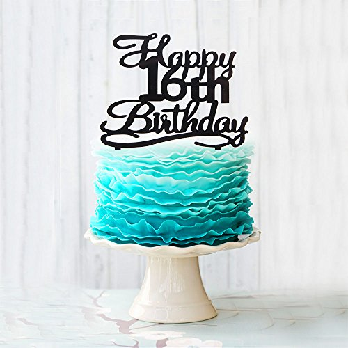 Happy 16th Birthday Cake Topper Black Acrylic Cake Topper Number 16 Sixteen Years Old Party Decoration Gifts.