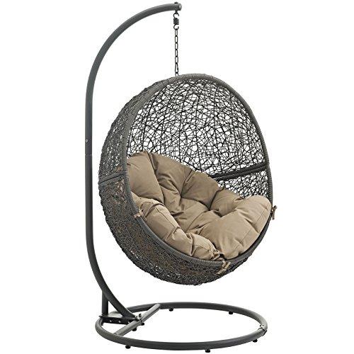 LexMod EEI-2273-GRY-MOC Hide Outdoor Patio Swing Chair, G...