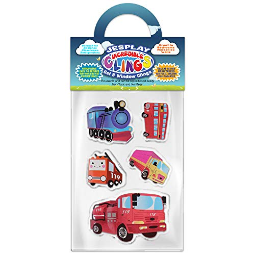 Train Window - Trains & Trucks Thick Gel Clings Incredible Removable Window Clings for Kids, Toddlers - Fire Truck, Tour Bus, Locomotive, Engine, Load - Incredible Gel Decals for Glass, Walls, Planes, Classrooms