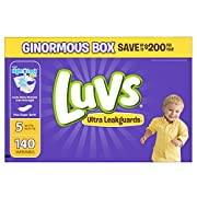 Luvs Ultra Leakguards Disposable Diapers Size 5, 140 Count, ONE MONTH SUPPLY
