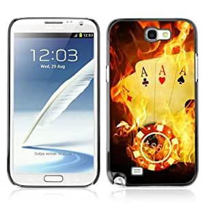 CaseCaptain Carcasa Funda Case - Samsung Galaxy Note 2 II / Burning Ace Cards /