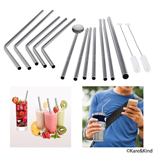 Premium Reusable Drinking Straws -Stainless Steel - Durable BPA-Free Alternative to Plastic Straws - Set of 12 with 2 Cleaning Brushes - For Smoothies, Milkshakes, Cocktails, Yeti Rambler Tumblers (Reusable Spoon Straws compare prices)