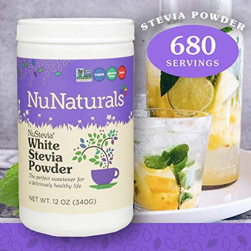 NuNaturals White Stevia Powder All Purpose Natural Sweetener, Sugar Free, 680 Servings 12 oz