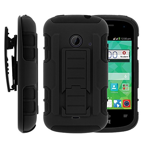 Zte Whirl 2 Case  Zte Whirl 2 Holster  High Impact Advanced Double Layered Hard Cover With Built In Kickstand And Belt Clip For Zte Whirl 2 Z667g  Zte Flame  Zte Prelude 2 Z667  Zte Zinger Z667t  Straight Talk  Net10  Cricket  T Mobile  From Miniturtle   Includes Screen Protector   Black