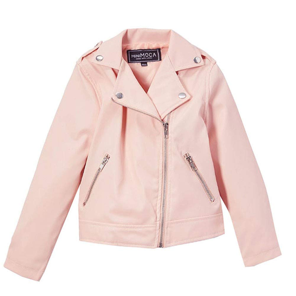 Mini Moca Big Girls Blush Faux Leather Zipper Pockets Jacket 8-14