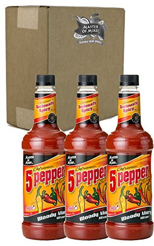 Master of Mixes 5 Pepper Extra Spicy Bloody Mary Drink Mix, Ready to Use, 1 Liter Bottle (33.8 Fl Oz), Pack of 3]()