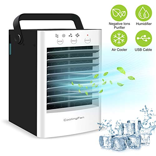 lifeholder Portable Air Conditioner Fan, Ultra Quite Evaporative Air Cooler 2 Speeds 2 Modes, Personal Space Air Cooler, Humidifier, Purifier, Cooling Fan (Humidifier Cooling)
