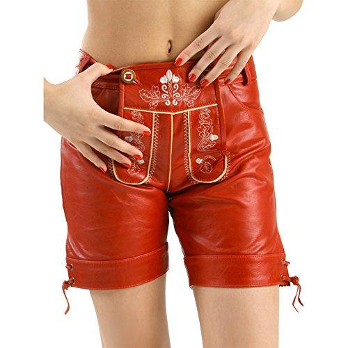 Almbock Trachten-Lederhose Damen Sophie Ziege-Nappa rot in Gr. 34 36 38 40 42 - Ziegenleder-Hose mit Eichenlaub-Stickereien und Hirschhornknöpfen