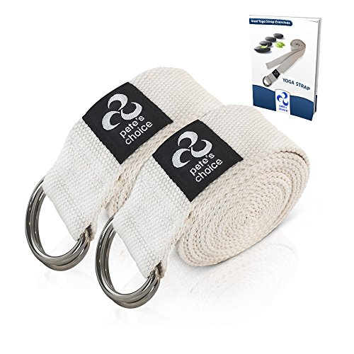 Pete's Choice Set of 2 Yoga Exercise Adjustable Straps 8Ft Thick Cotton with Durable D-Ring for Pilates & Gym Workouts | Hold Poses, Stretch, Improve Flexibility & Maintain Balance | Bonus EBook
