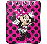 Jay Franco Dots are The New Black Minnie Plush Throw, Pink