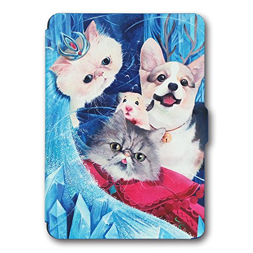 Kandouren Case Cover for Amazon Kindle Paperwhite - Art Skin,Slim Leather Cover with Autowake(Fit 6 inch 6th generation new Kindle Paperwhite 2013 2015 2016) (Blue Cat) (Jacket Book Select)