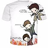 T-Shirts Supernatural CAS Dean and Sam Print 3D t Shirt Men/Women Short Sleeve e Tshirt,01,Asian XXL