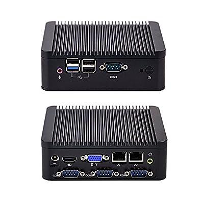 fanless bay trail Mini PC j1900 quad core 2.42 GHz, 8GB RAM 64GB SSD 500GB HDD 300m WIFI, dual LAN Mini PC with 4 USB and 4 serial port