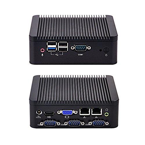 QOTOM Fanless Mini PC Q190P BayTrail j1900 Processor Quad core 2.0 GHz 8GB RAM 128GB SSD Wireless Mini PC Linux Windows