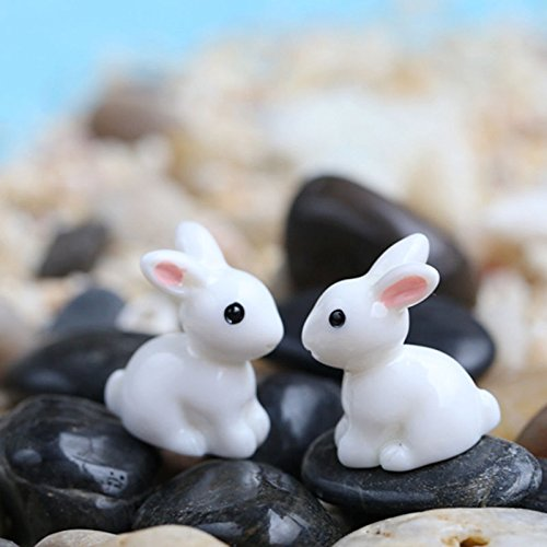 Miniature Figurine (DatingDay 2x Mini Small Rabbit Miniature Ornament Microlandschaft Home Decor Fairy Garden Figurine Bonsai Statue)