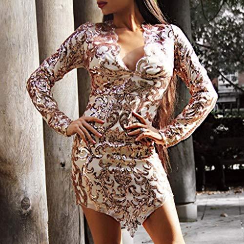 Paillettes Bodycon Orlare Vestito Donna Elegante Scollo Maniche Con Partito Abito V Dragon868 A Lunghe Oro Irregolare Spacco Glitter Cerimonia FcK1lJ