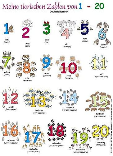 Meine tierischen Zahlen von 1-20. Poster: Deutsch /Russisch
