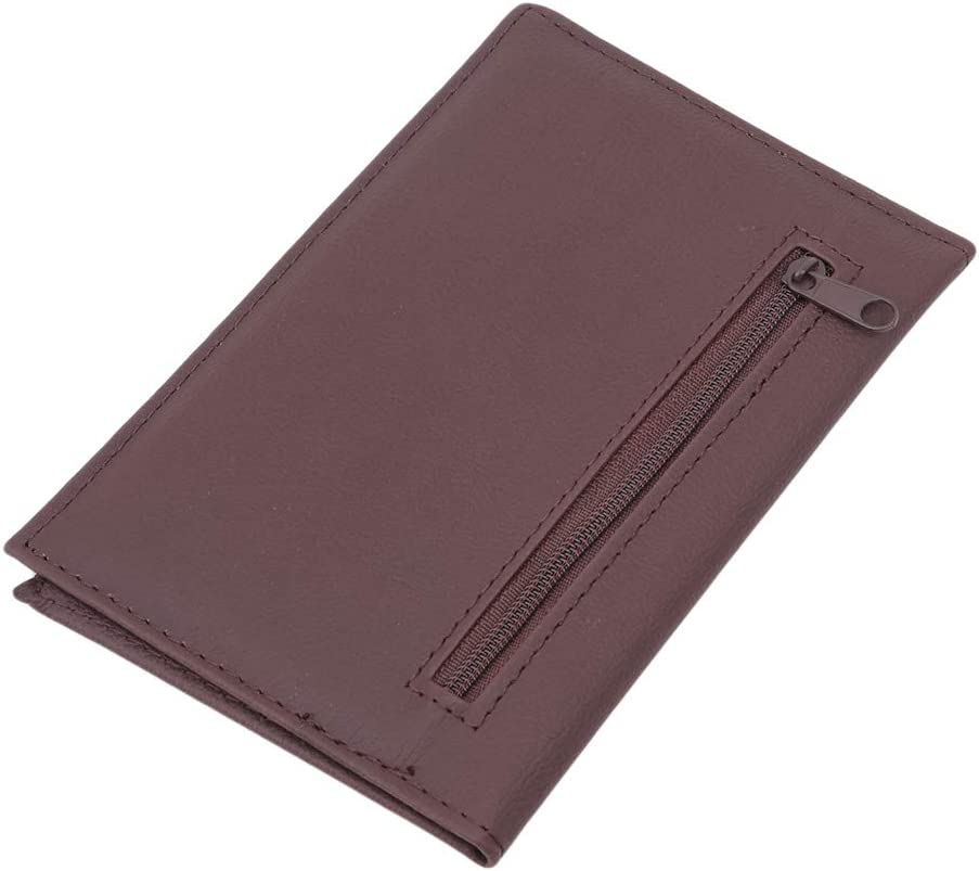 EH-LIFE Passport Wallet Zipper Passport Holder Cover PU Leather Travel Storage Supplies Accessories Brown