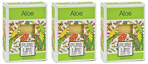 Pure Life Soap Co. Aloe Vera Bar Soap (Pack of 3) With Coconut, Palm Oil, Aloe Vera, Rice Infusion, Sesame Oil and Olive Oil, 4.4 oz. each