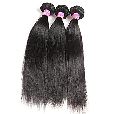 QinMei Brazilian Hair Straight 7A Grade 100% Unprocessed Virgin Human Hair 3 Bundles Weave Natural Color