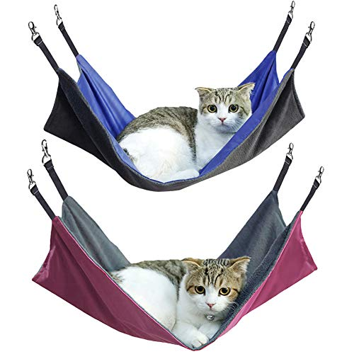 Petneces Cat Hanging Hammock 2-pack Waterproof Oxford Fabric Bed Mat for Cage for Rabbit/Rat/Ferret- 2 in 1 Summer&Winter - 22x14.6inch(Blue+Rose Red)