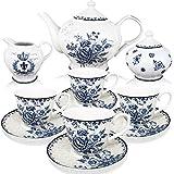 BTäT- Blue Dream Tea Set, Tea cups (8oz), Tea Pot (48oz), Creamer and Sugar Set, Gift box, China Tea Set, Tea Service, Tea Cups and Saucer Set, Tea Set for Adults, Tea Cups Set of 4, Porcelain Tea Set