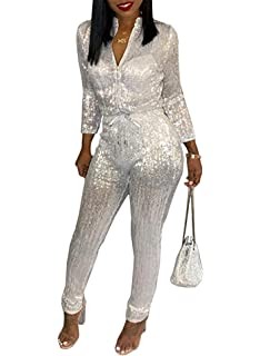 ee79ecf8d95 ECHOINE Womens Sexy Bodycon Glitter Jumpsuit - Sparkly See Through  Drawstring One Piece Romper Playsuit Clubwear