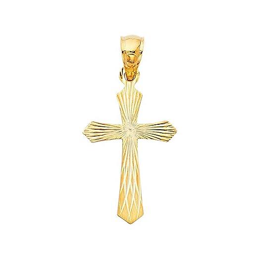 Amazon 14k yellow gold diamond cut catholic cross pendant jewelry 14k yellow gold diamond cut catholic cross pendant mozeypictures Image collections