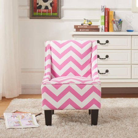 Handmade Kids Swoop Chair, Solid Hardwood Frame, Home Furniture, Printed Fabric, Children's Furniture, Kid's Recliner, Upholstery-Grade Foam Seating,BONUS e-book (Pink (Pink Cheveron)
