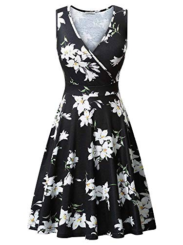 GUBERRY Womens Casual Dresses Low V Neck Wrap Surplice Floral Flare Midi Sundress ()