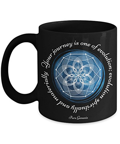 Your journey is one of evolution; evolution spiritually and materially - enlightening spiritual meditation yoga gift mug by Pure Genesis black coffee cup