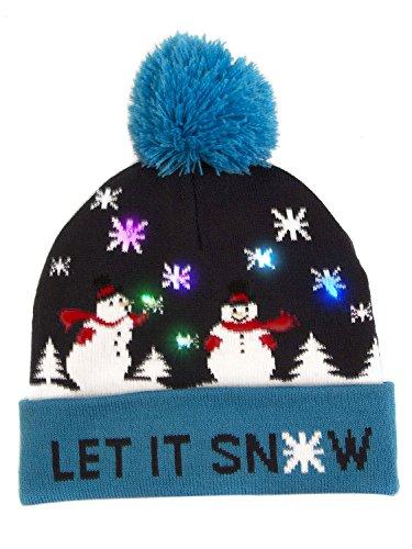 Clothink Christmas Holiday Beanie Hat Cap Flashing Led Light Up