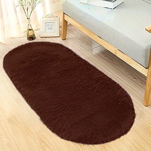Brown Oval Rug - Noahas Ultra Soft 4.5cm Velvet Bedroom Rugs Kids Room Carpet Modern Shaggy Area Rugs Home Decor 2.6' X 5.3' (Coffe)