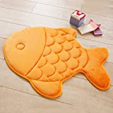A.B Crew Fish Shaped Memory Foam Mat Rug for Doormat Bedroom Bathroom Area(Orange)