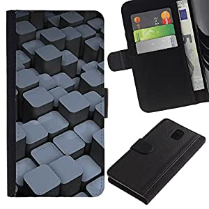 Planetar® Colorful Pattern Flip Wallet Leather Holster Protective Skin Case Cover For SAMSUNG Galaxy Note 3 III / N9000 / N9005 ( Blocks )