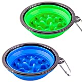 Cheap STARUBY 2 Pack Collapsible Dog Bowl, Slow Feed Dog Bowl, Foldable Pet Travel Bowl, Portable Slow Feeder Cat Bowl, for Outdoor Camping Pet Food Water Feeding Large Size Green and Blue