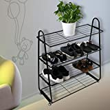 Dreamyth 4-Tier Iron Mesh Utility Shoe Rack Shoes Stainless Organizer Shelf Storage Black,American Warehouse Shippment