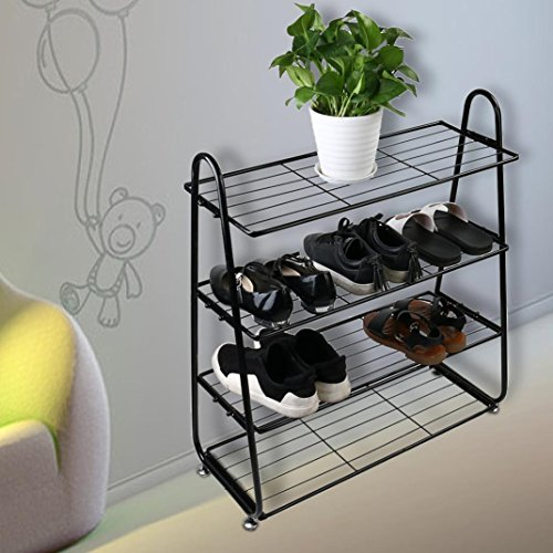 Dreamyth 4-Tier Iron Mesh Utility Shoe Rack Shoes Stainless Organizer Shelf Storage Black,American Warehouse Shippment by Dreamyth