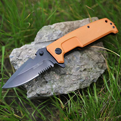 Bearings Hurricane - Hurricane G10 Tactical Folding Knife, EDC knife, with Glass Breaker, Ball Bearing Pivot System,One Hand Operation Flip Open 8Cr15MoV Stainless Steel Blade, with Liner Lock, Pocket Clip, Orange