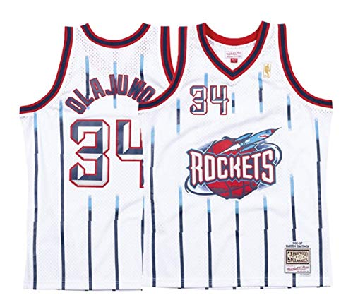 Hakeem Olajuwon Houston Rockets Mitchell and Ness Men's White Throwback Jersey (X-Large) - Houston Rockets Throwback
