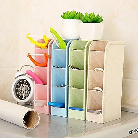 JUNGEN Bo/îte De Rangement Stylos Crayons Multifonction Pot De Rangement pour Bureau Maison Support Desk Tidy Accessoire De Bureau en Plastique Beige