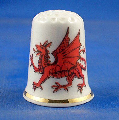 Porcelain China Collectable Thimble - Wales Dragon with Free Gift Box