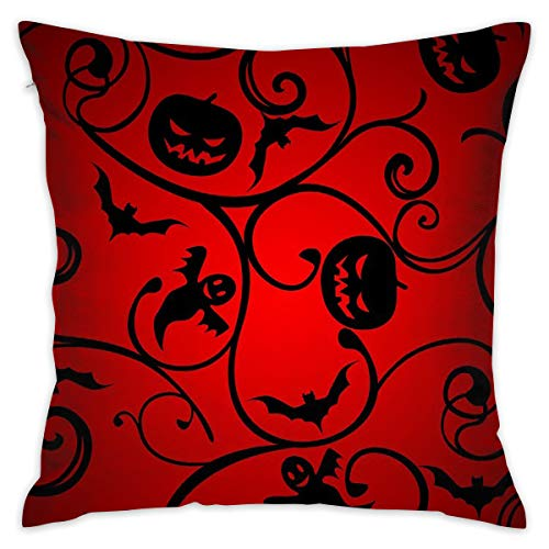 JEKBH Pillow Case Halloween Pattern Wallpaper Background Novelty Cute Funny Soft and Cozy with Hidden Zipper 1pc Queen Size 17.7''X17.7'' ()