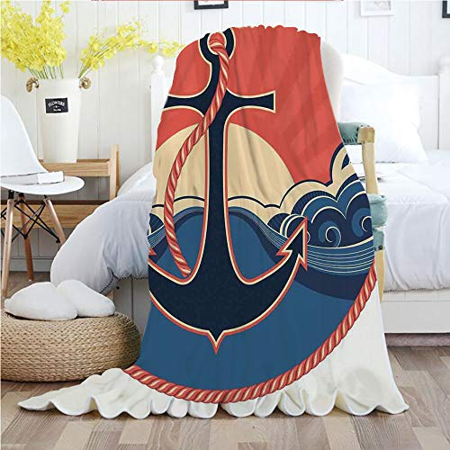 Anchor Decor,Throw Blankets,Flannel Plush Velvety Super Soft Cozy Warm with/Navy Label with Robe and Sea Waves at Sunset Anchor Retro Sailing Aquatic Life Icons/Printed Pattern(70